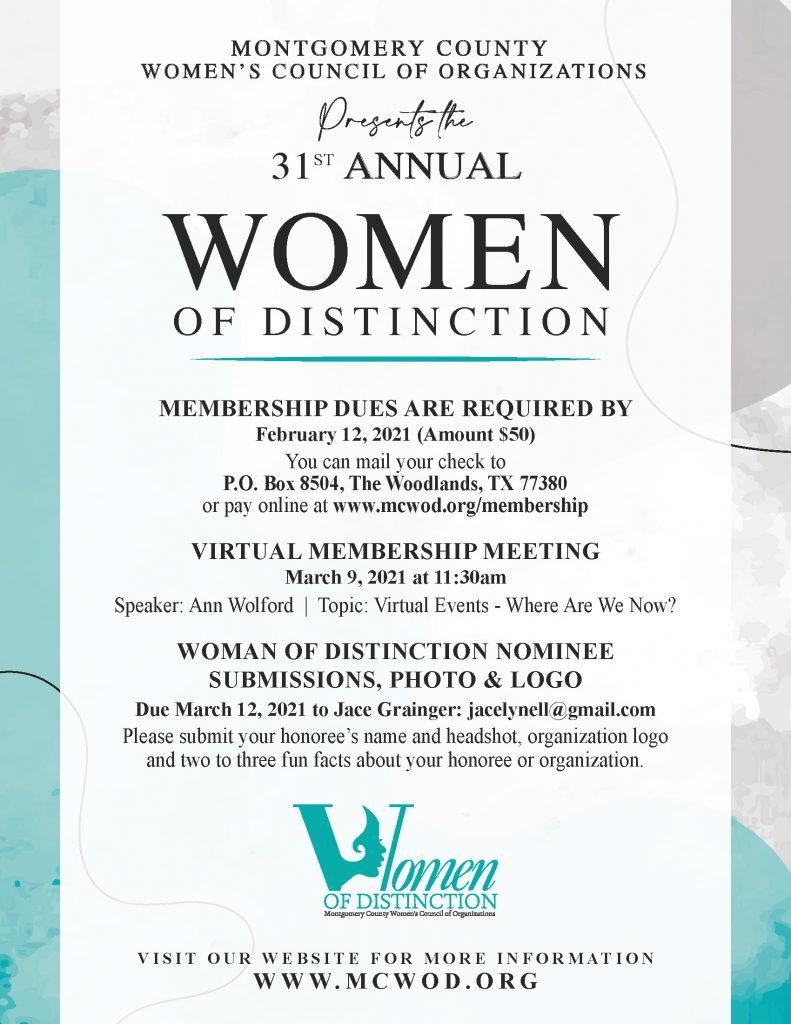 MCWCO Women of Distinction 2021 Announcement Information